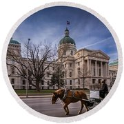 Indiana Capital Building - Front With Horse Passing Round Beach Towel