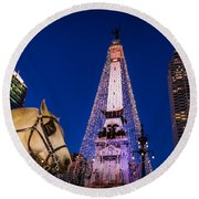 Indiana - Monument Circle With Lights And Horse Round Beach Towel