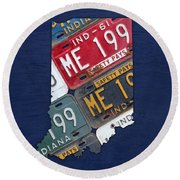 Indiana State License Plate Map Round Beach Towel