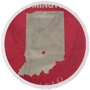 Indiana University Hoosiers Bloomington College Town State Map Poster Series No 048 Round Beach Towel