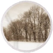 Indiana Winter At Freedom Park - Horizontal Round Beach Towel