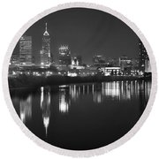 Round Beach Towel featuring the photograph Indianapolis Skyline At Night Indy Downtown Black And White Bw Panorama by Jon Holiday