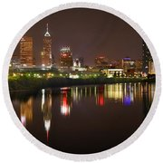 Round Beach Towel featuring the photograph Indianapolis Skyline At Night Indy Downtown Color Panorama by Jon Holiday