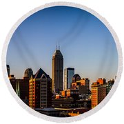 Indianapolis Skyline - South Round Beach Towel
