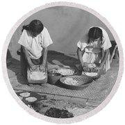 Indians Making Tortillas Round Beach Towel