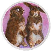 Indignant Bunny And Friend Round Beach Towel