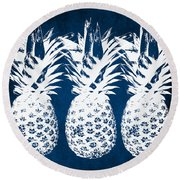 Indigo And White Pineapples Round Beach Towel by Linda Woods