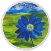 Indigo Blue - Sunflower Round Beach Towel