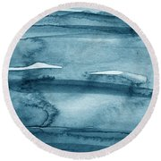 Indigo Water- Abstract Painting Round Beach Towel