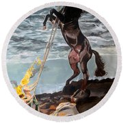 Round Beach Towel featuring the painting Indomitable Listen With Music Of The Description Box by Lazaro Hurtado