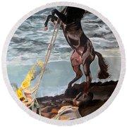 Indomitable Listen With Music Of The Description Box Round Beach Towel by Lazaro Hurtado
