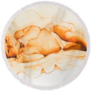Round Beach Towel featuring the painting Infant Awake by Greta Corens