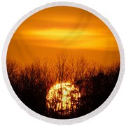 Inferno In The Trees Round Beach Towel