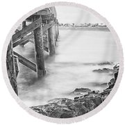 Infrared View Of Stormy Waves At Stramsky Wharf Round Beach Towel by Jeff Folger