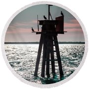Inhale The Sea Round Beach Towel by Karen Wiles