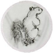 Ink Squirrel Round Beach Towel