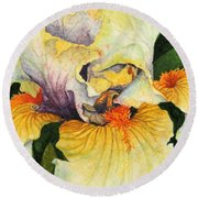 Round Beach Towel featuring the painting Inner Beauty by Barbara Jewell