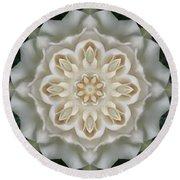 Inner Gardenia Glow Mandala Round Beach Towel
