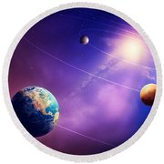 Inner Solar System Planets Round Beach Towel