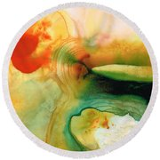 Inner Strength - Abstract Painting By Sharon Cummings Round Beach Towel