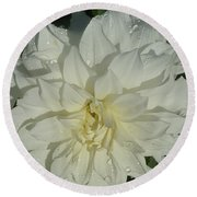 Innocent White Dahlia  Round Beach Towel by Susan Garren
