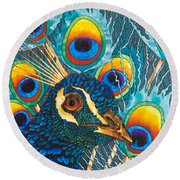 Insane Peacock Round Beach Towel