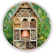 Insect Hotel Round Beach Towel