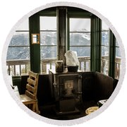 Inside A Fire Lookout In Winter Round Beach Towel