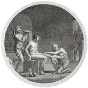 Inside An Egyptian Bathhouse, C.1820s Round Beach Towel