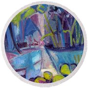 Inside And Outside Abstract Expressionism Round Beach Towel
