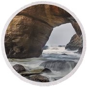 Round Beach Towel featuring the photograph Inside Devils Punch Bowl by Jacqui Boonstra