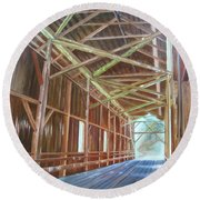 Inside Felton Covered Bridge Round Beach Towel