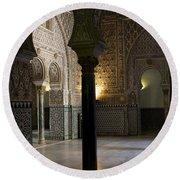 Round Beach Towel featuring the photograph Inside The Alcazar Of Seville by Lorraine Devon Wilke