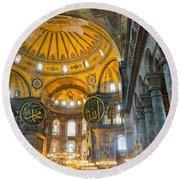 Inside The Hagia Sophia Istanbul Round Beach Towel