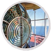 Inside The Lighthouse Round Beach Towel