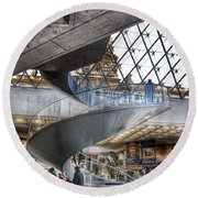 Inside The Louvre Museum In Paris Round Beach Towel by Marianna Mills