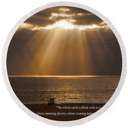 Inspirational Sun Rays Over Calm Ocean Clouds Bible Verse Photograph Round Beach Towel by Jerry Cowart