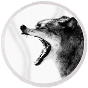 Intense Gray Wolf Portrait  Round Beach Towel