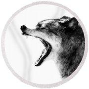 Intense Gray Wolf Portrait  Round Beach Towel