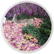 Round Beach Towel featuring the photograph Interior Decorations Butterfly Gardens Vegas Golden Yellow Purple Flowers by Navin Joshi