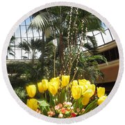 Round Beach Towel featuring the photograph Interior Decorations Butterfly Gardens Vegas Golden Yellow Tulip Flowers by Navin Joshi