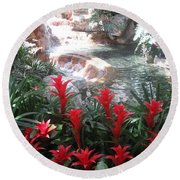Round Beach Towel featuring the photograph Interior Decorations Water Fall Flowers Lights Shades by Navin Joshi