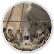 Interior Of A Cree Indian Tent, 1824 Round Beach Towel