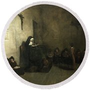 Interior Of A School For Orphaned Girls, 1850 Oil On Canvas Round Beach Towel