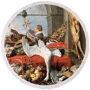 Interior Of An Office, Or Still Life With Game, Poultry And Fruit, C.1635 Oil On Canvas Round Beach Towel by Frans Snyders or Snijders