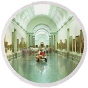 Interior Of Prado Museum, Madrid, Spain Round Beach Towel