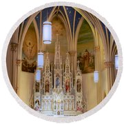Interior Of St. Mary's Church Round Beach Towel