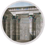 Grand Temple On The Island Of Philae Round Beach Towel