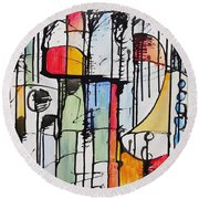 Round Beach Towel featuring the painting Internal Opposition by Jason Williamson