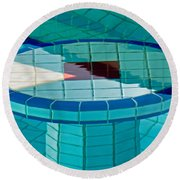 Intersection Of Lines And Shapes Round Beach Towel by Gary Slawsky